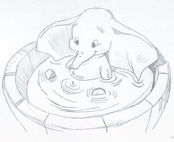 Dessin au crayon de papier disney lundi dernier on m a mis au d fi de dessiner un l phant - Dessiner disney ...