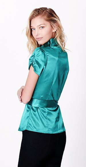 eb1019928cb2d9 LE3NO Womens Short Sleeve Satin Blouse with Waist Tie at Amazon Women s  Clothing store