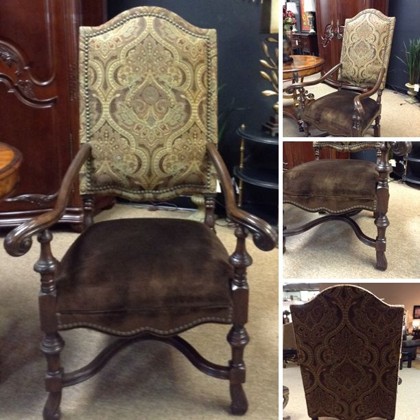 Accent Chair - Lg. Accent Chair w/ Wood Arm & Brown Velvet Seat - $708.95