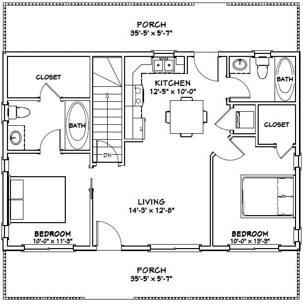 36x24 House 36x24h7c 812 Sq Ft Excellent Floor Plans Loft Floor Plans Small House Floor Plans Basement House Plans