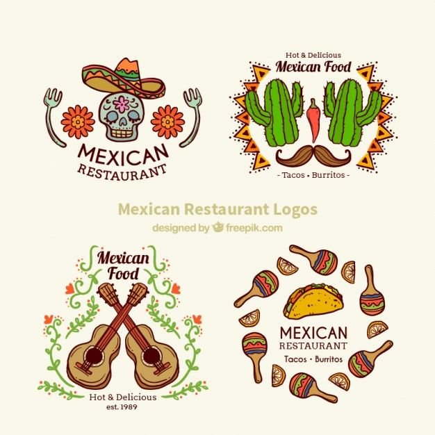 Beautiful hand drawn mexican logos Free Vector
