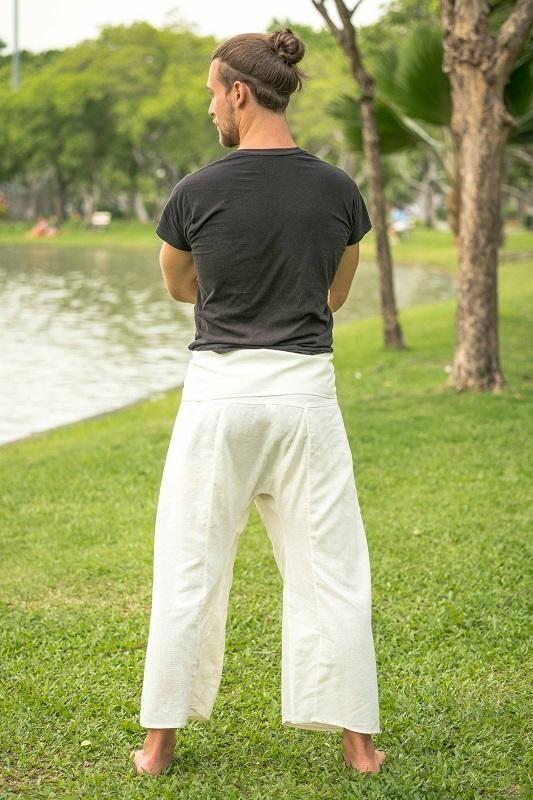 Pantalon Pescador Blanco Para Hombre Pantalones Pescadores Pantalones Para Hombre Ropa De Moda Hombre