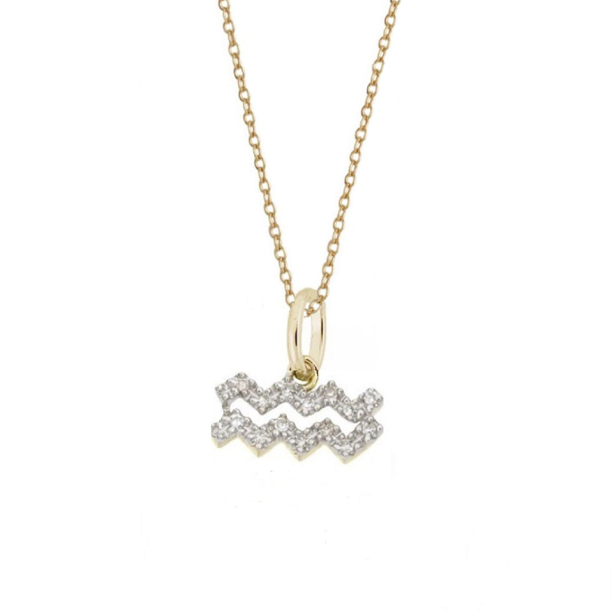 Aquarius diamond zodiac charm necklace aquarius pinterest