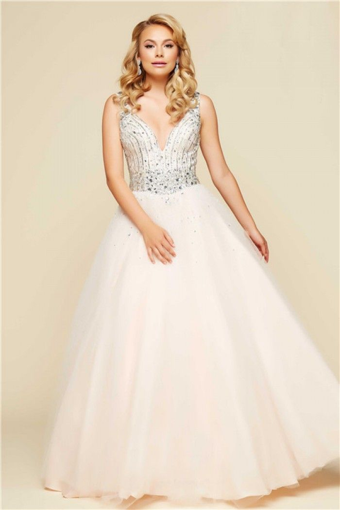 Ball Gown Plunging Neckline Backless Nude Tulle Beaded Prom Dress ...