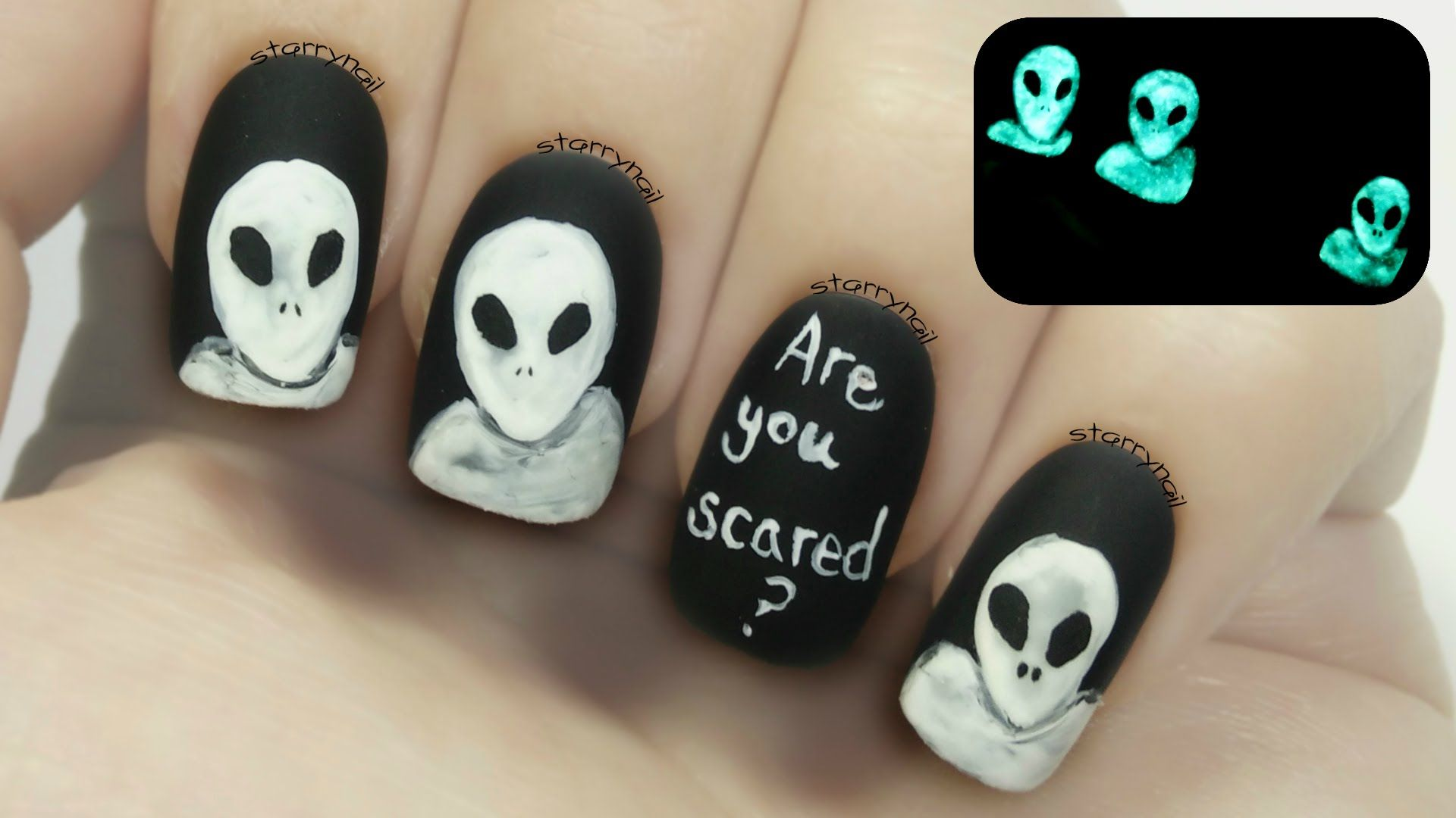 Scary Aliens [Glow in the Dark Freehand Nail Art] | Freehand Nail ...