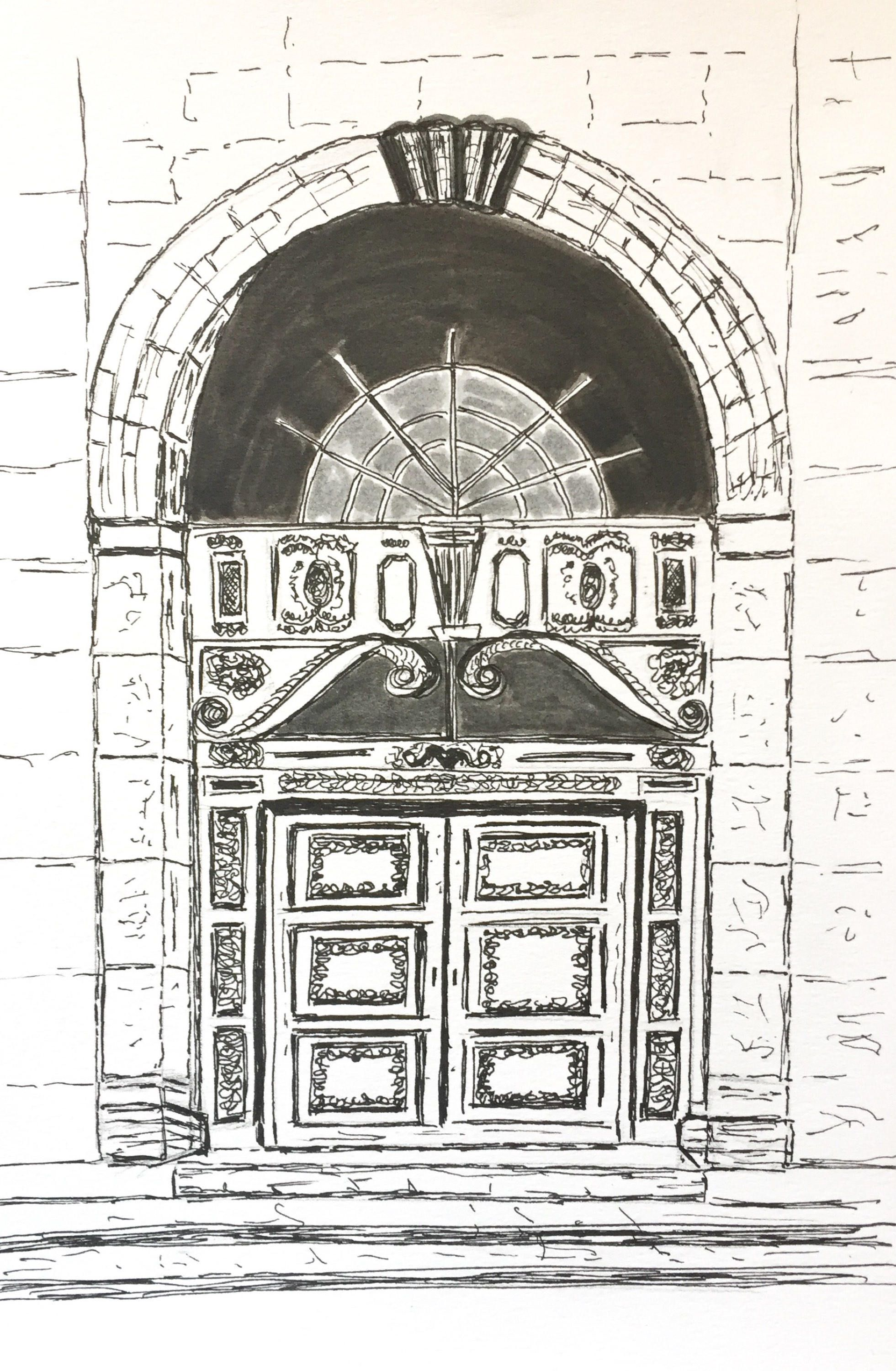 Original drawing black and white architecture art original sketch pen and ink doorway drawing europe drawing