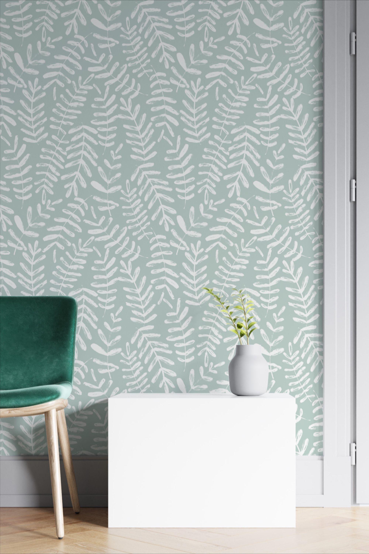 Blue Grey Leaf Wallpaper Peel And Stick Botanical Self Etsy Blue Wall Covering Sage Green Living Room Living Room Green