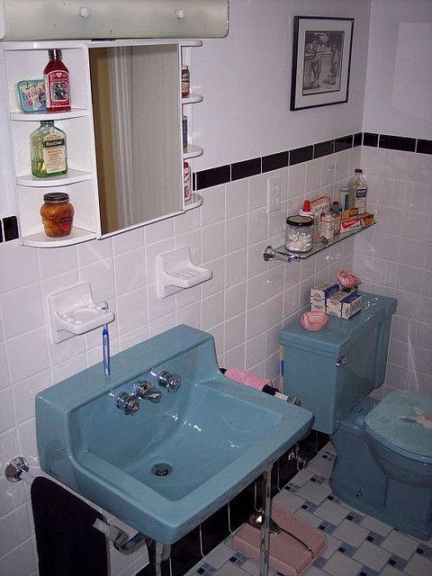 Blue Bathroom Retro Renovation Vintage Bathrooms Retro