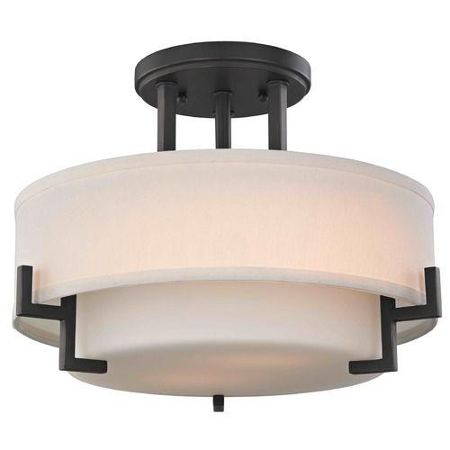 Modern Ceiling Light with White Glass in Bronze Finish | 7014-78 | Destination Lighting