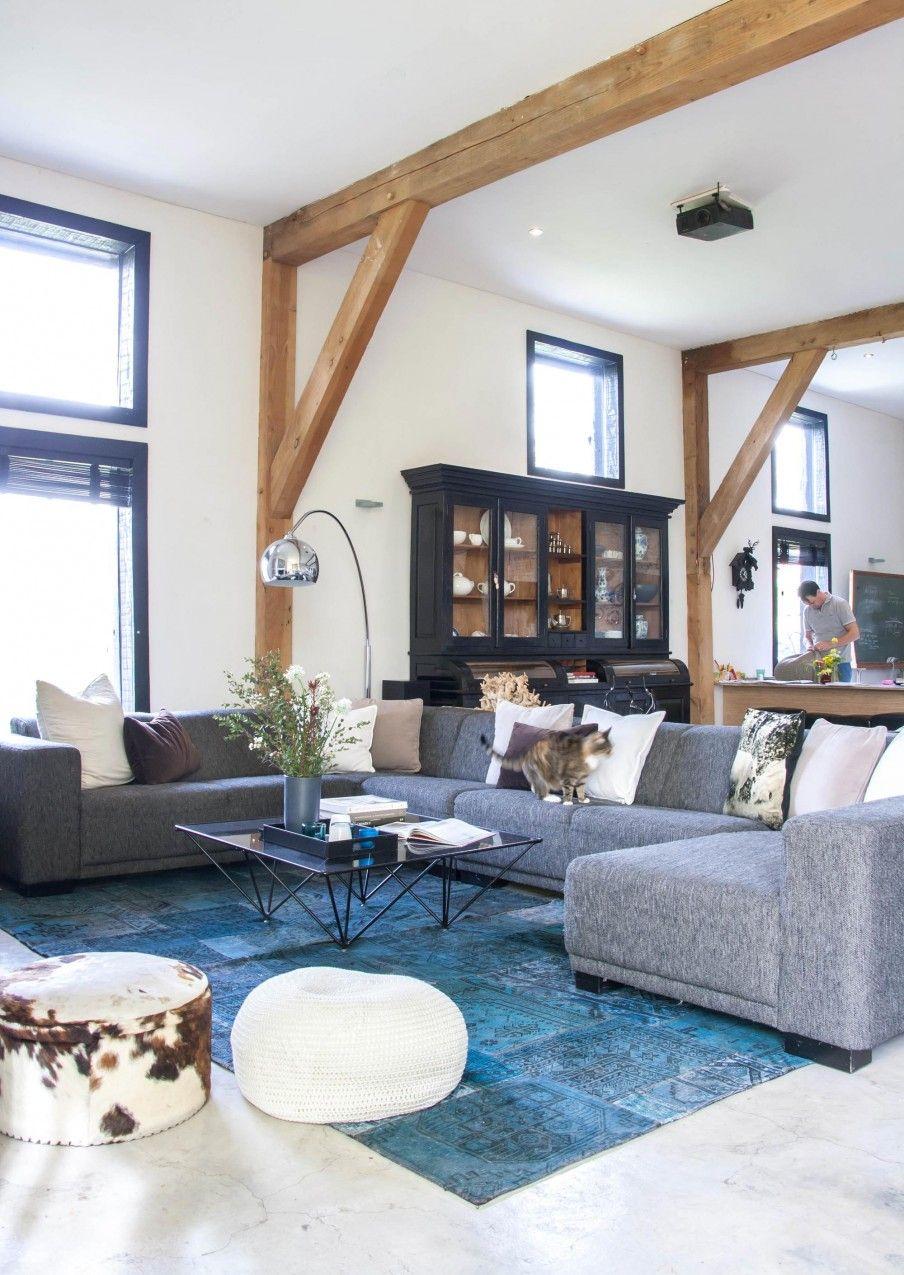 2-woonkamer-houten-balken | Huis binenkant | Pinterest