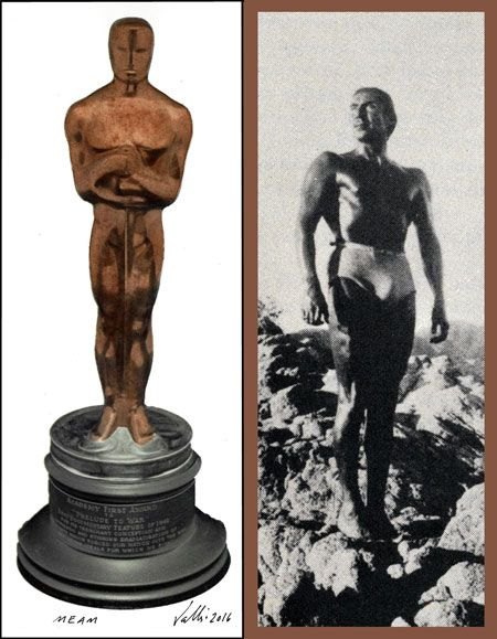 The diptych, MEAM: Oscar & Emilio 'El Indio' Fernandez shows the Oscar statuette and the model who might have served as its inspiration. COURTESY THE ARTIST AND UCLA CHICANO STUDIES RESEARCH CENTER