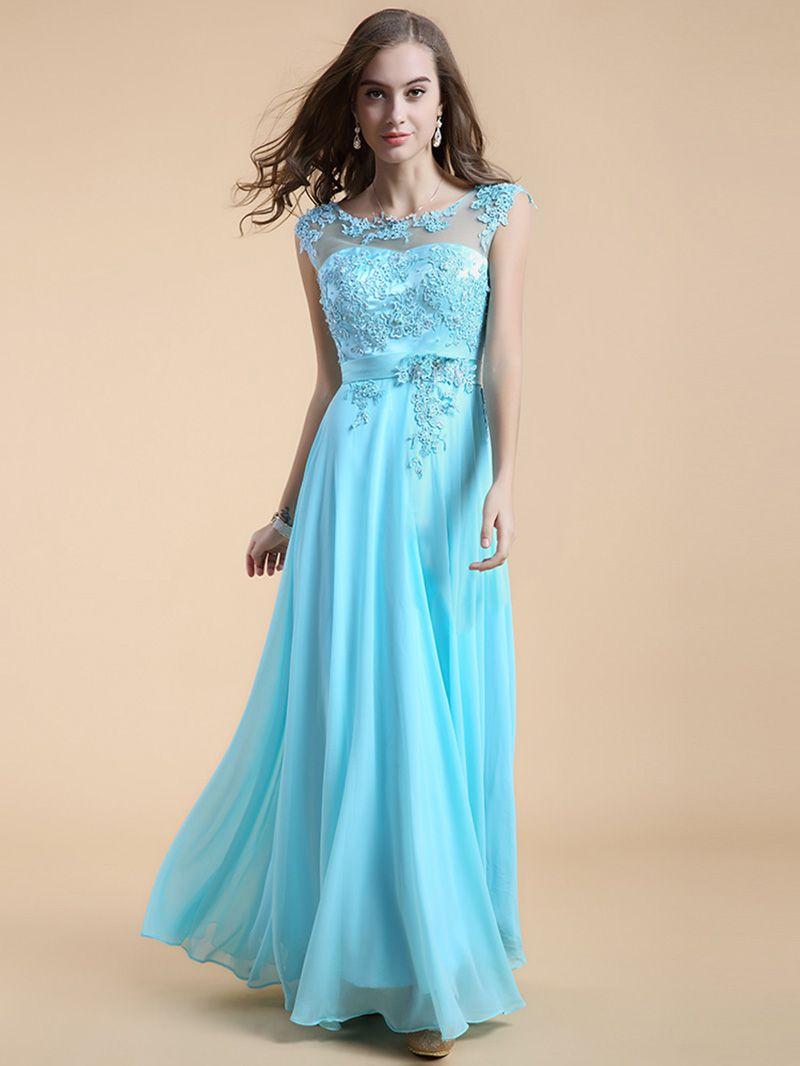 Blue Round Neck Sleeveless Flare Wedding Party Dress [15061901013 ...