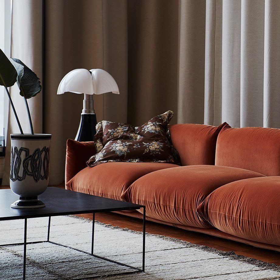 Homepolish On Instagram Interiorinspiration We Have An Ongoing Internal Debate About The Correct Usage Of Sof Orange Sofa Trending Decor Home Decor Trends #rust #color #living #room #sets