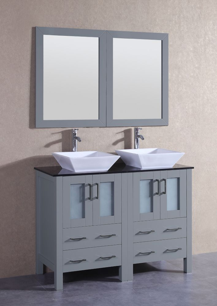 47 Inch W X 18 Inch D Bath Vanity In Gray With Tempered Glass Vanity Top In Black With White B Double Vanity Bathroom Marble Vanity Tops Single Bathroom Vanity