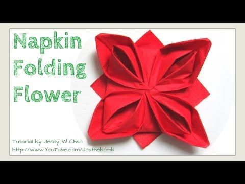 Christmas Table Setting - How to Fold a Rose. Flower - Napkin Folding, Restaurant Table Setting ...