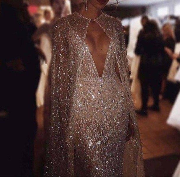 Alternative Prom Dress V-Neck Low Plunge Gold Beige Nude -5426