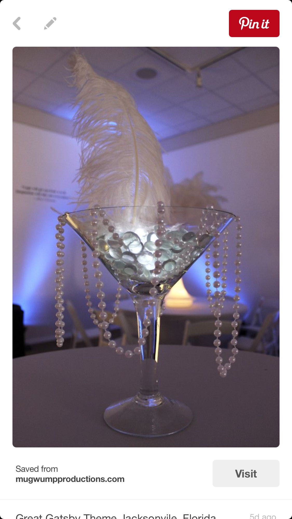 1920's themed wedding decorations  Martini Glass with Floralytes  Martini glass  Pinterest  Martinis