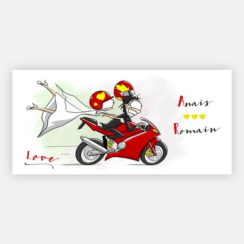 Faire Part Mariage Pas Cher Arrivée En Moto иллюстрации