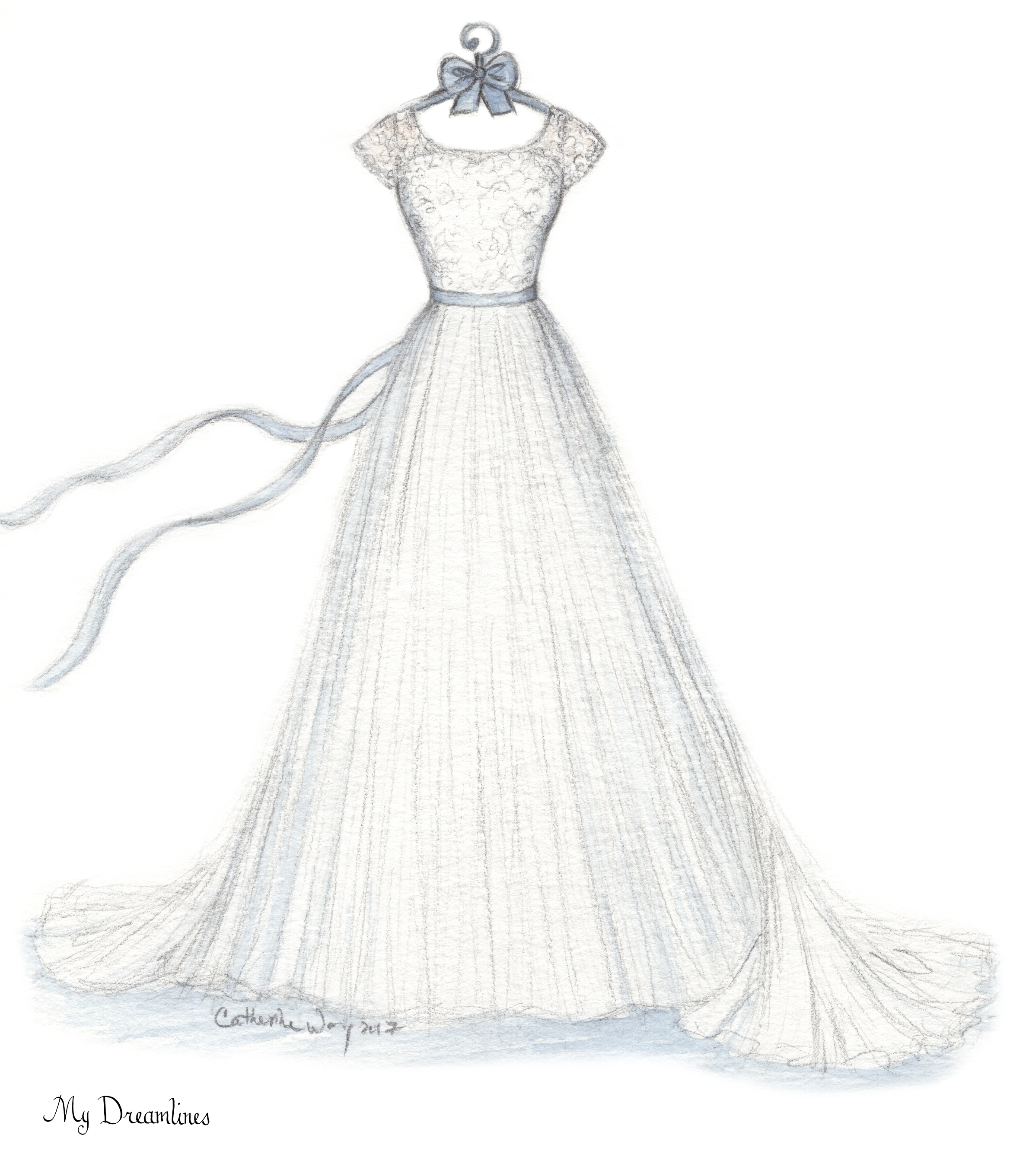 What is the best gift for her? Her wedding dress sketched and your ...
