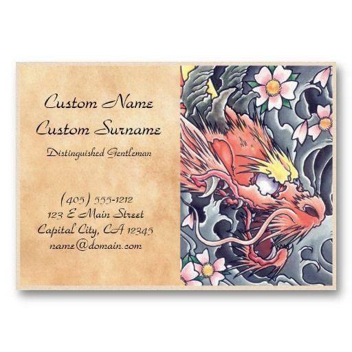 Cool Oriental Japanese Dragon God Tattoo Business Card Template - Tattoo business card templates