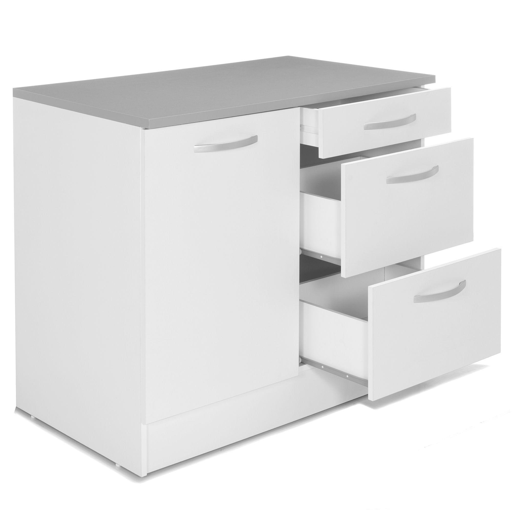 Meuble de cuisine bas pour évier avec tiroirs 10cm Blanc - Eko