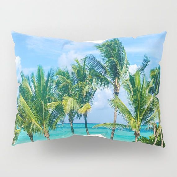 Miami Palm Trees Pillow Shams Standart Set Of 2 King Ocean Decorative Beach