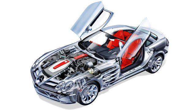 Mercedes McLaren SLR cutaway