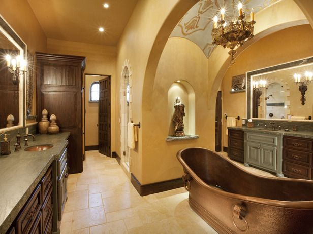 Chandelier Over a Copper Bathtub