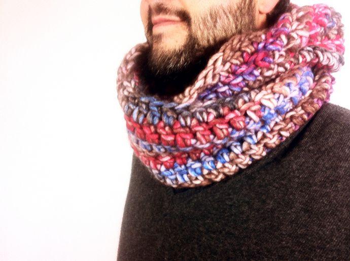 DIY tutorial como hacer una bufanda infinita a ganchillo crochet ...