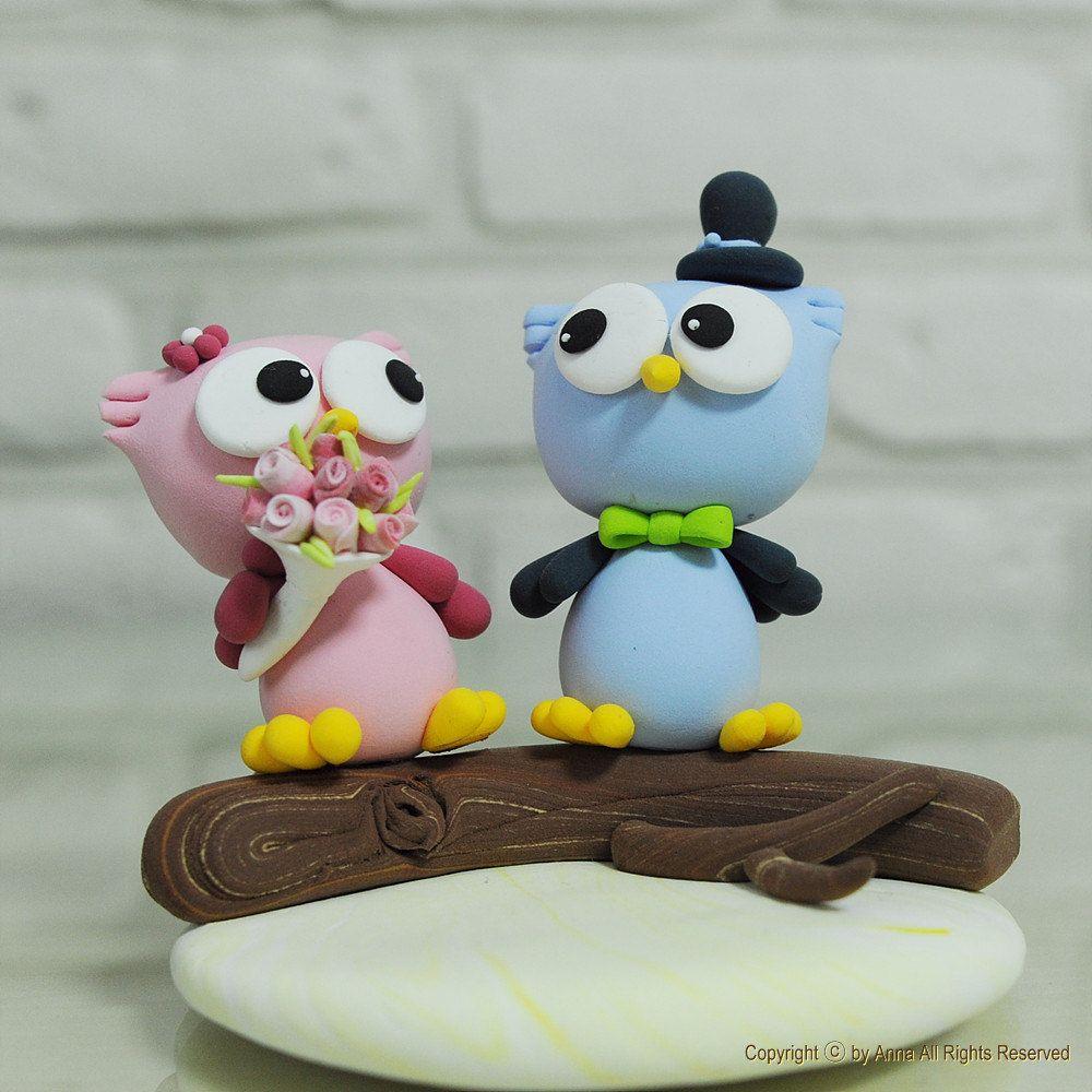 Love birds owl wedding cake topper Gift Decoration. $70.00, via Etsy.