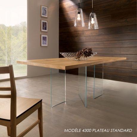 Table moderne plateau ch ne massif pieds en verre vertige 1 decoration - Plateau en chene massif ...