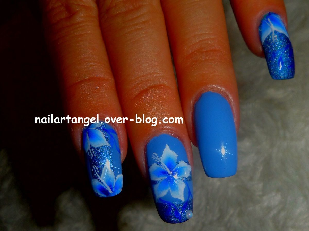 nail art, nail art fleurs, fleurs one stroke, nail art hibiscus ...