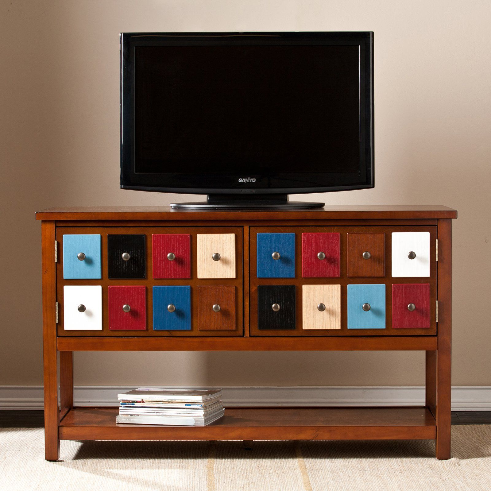 Southern Enterprises Patchwork 48 in TV Media Stand Brown