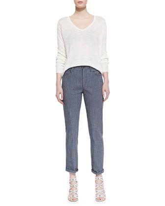 Theory Jordin Pinstripe Cropped Jeans
