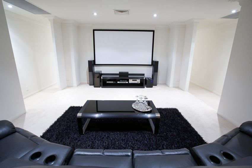 The-Red-and-Beige-Cinema-Room-at-Home Media-Room-Ideas-with ...