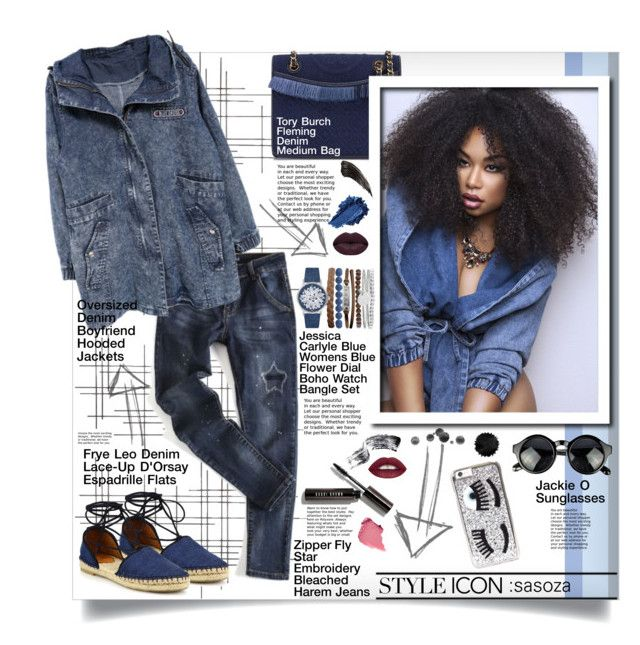 Denim Style by Sasoza by sasooza on Polyvore featuring polyvore fashion style Frye Tory Burch Jessica Carlyle Chiara Ferragni Bobbi Brown Cosmetics Winky Lux Crate and Barrel vintage clothing