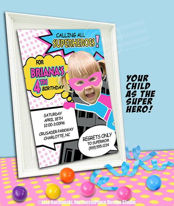 PRINTABLE Supergirl Birthday Party Invitation Girls Superhero Invitations Invites