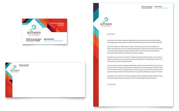 Application Software Developer Business Card And Letterhead Template Design By Stock Business Card Template Design Letterhead Template Brochure Design Template