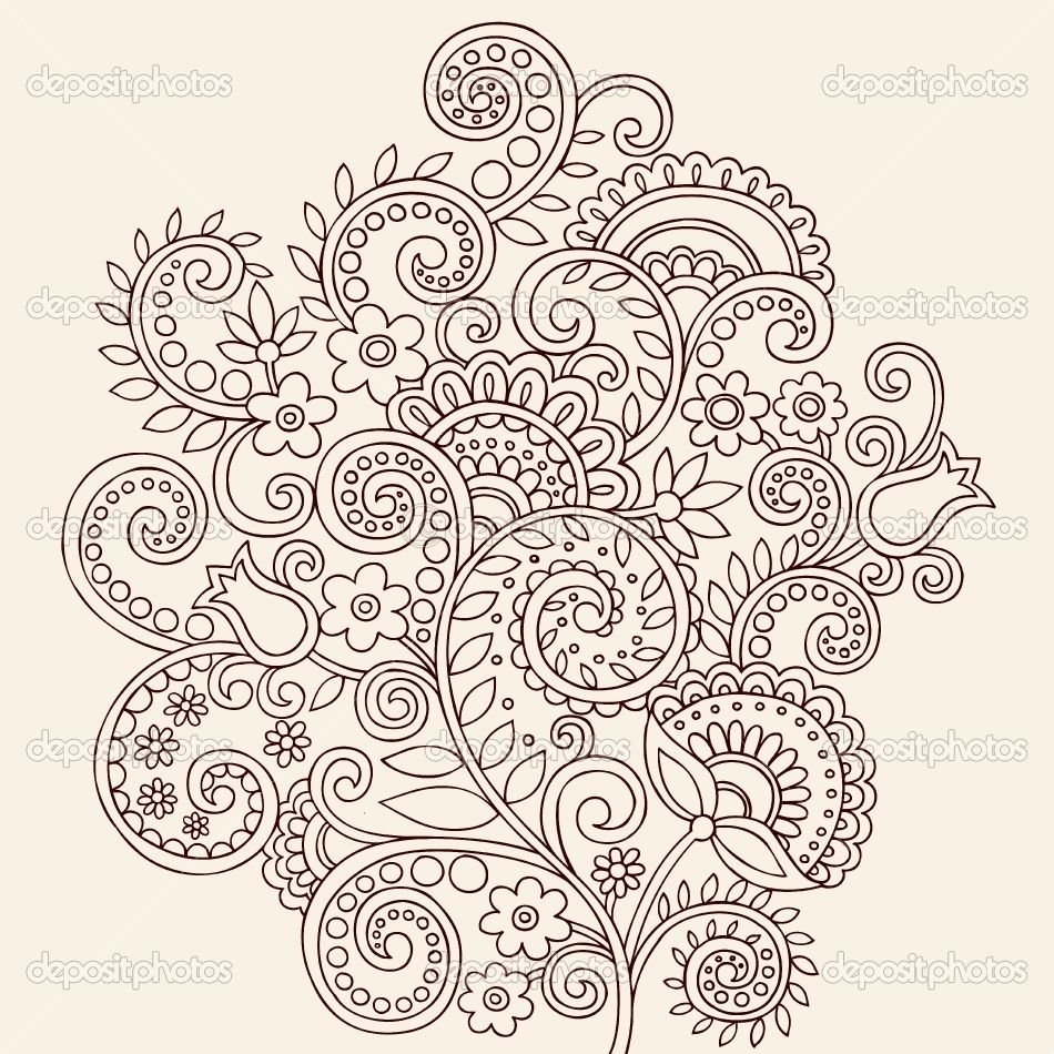 paisley tattoo | ... Paisley Floral Tattoo Doodle- Vector ...