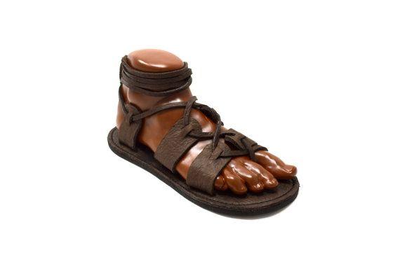 7b9d84f389f Women s Gladiator Sandals   Chocolate Brown Handmade Sandal Greek Roman  Medieval Viking Renaissance LARP Flat Leather Lace Up Shoes Womens