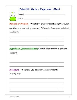 Scientific Method Fill In Sheets Scientific Method Learning Science Science Experiments