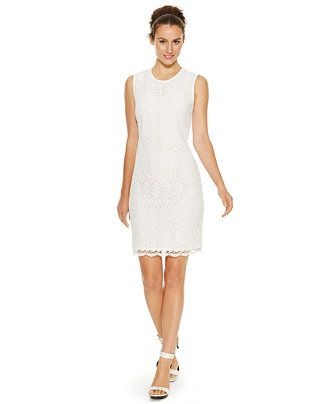685564e6b9b7a Calvin Klein Petite Sleeveless Lace Sheath Dress - Shop all Wedding Dresses  - Women - Macy s