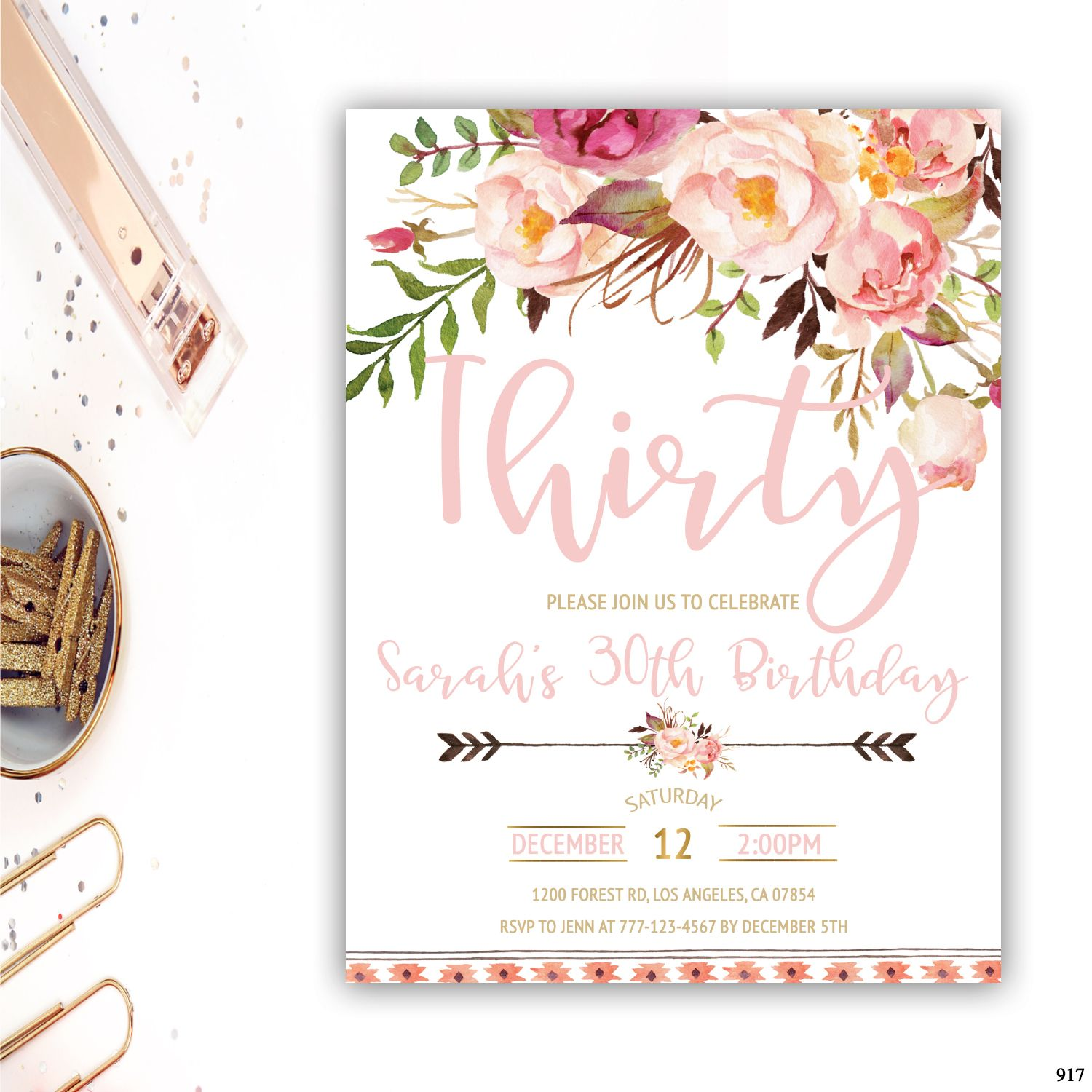 30th Birthday Invitation Adult Invitations For Her Invite Floral
