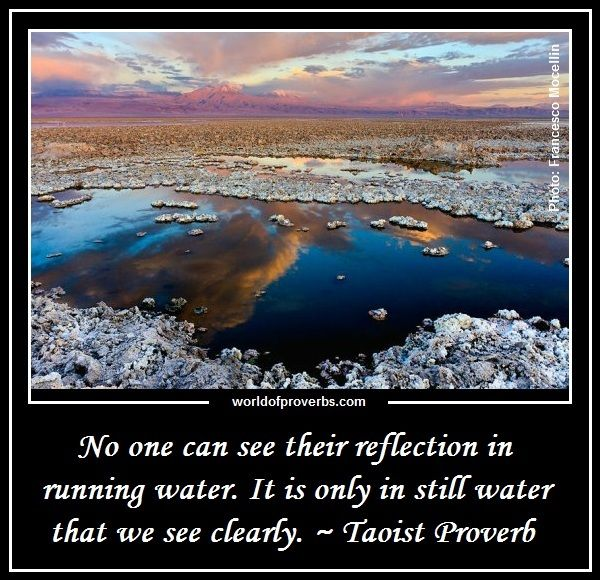 World of Proverbs - Famous Quotes: No one can see their reflection in running water. It is only in still water that we can see. ~ Taoist Proverb [17892]
