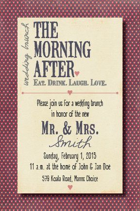 Morning After Wedding Brunch Invitation By BeeCatcherDesigns