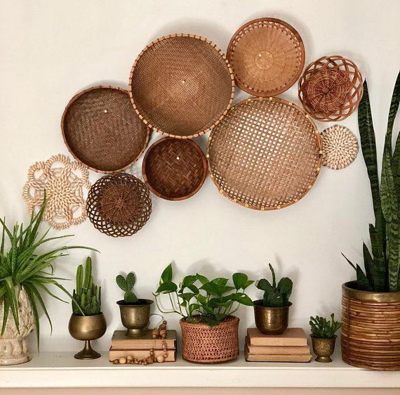 Photo of conjunto de pared de canasta vintage colección instantánea decoración boho #retrohomedecor
