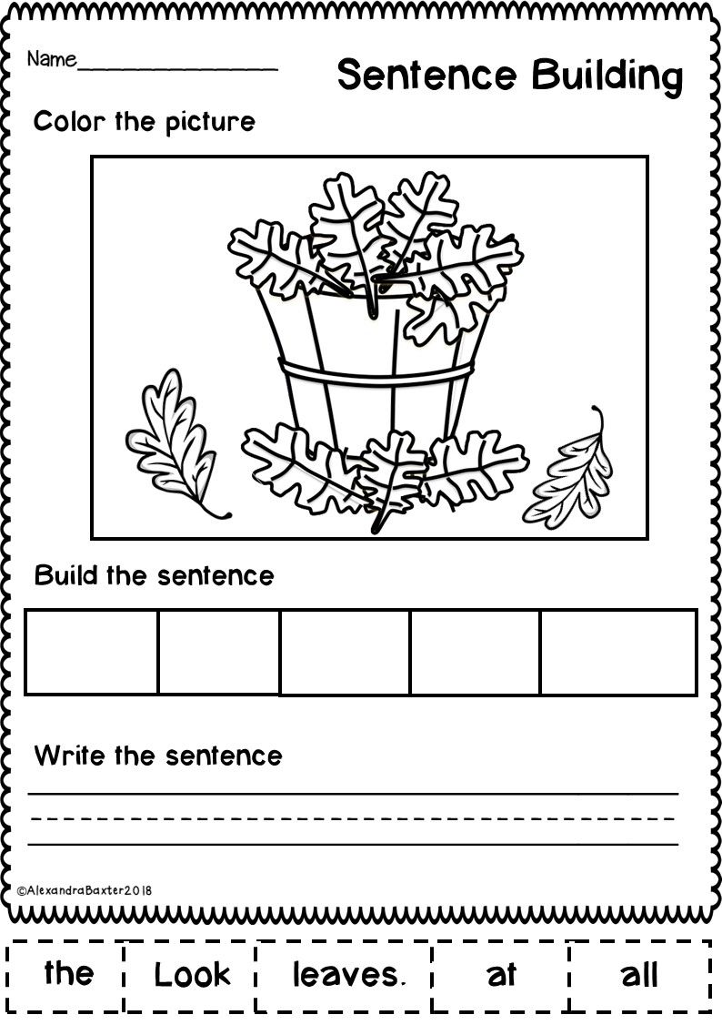 Who Doesn T Love Fun And Seasonal Worksheets This Resource Is A Selection Of 10 Sentence Building Sentence Building Kindergarten Writing Sentence Scramble [ 1126 x 794 Pixel ]