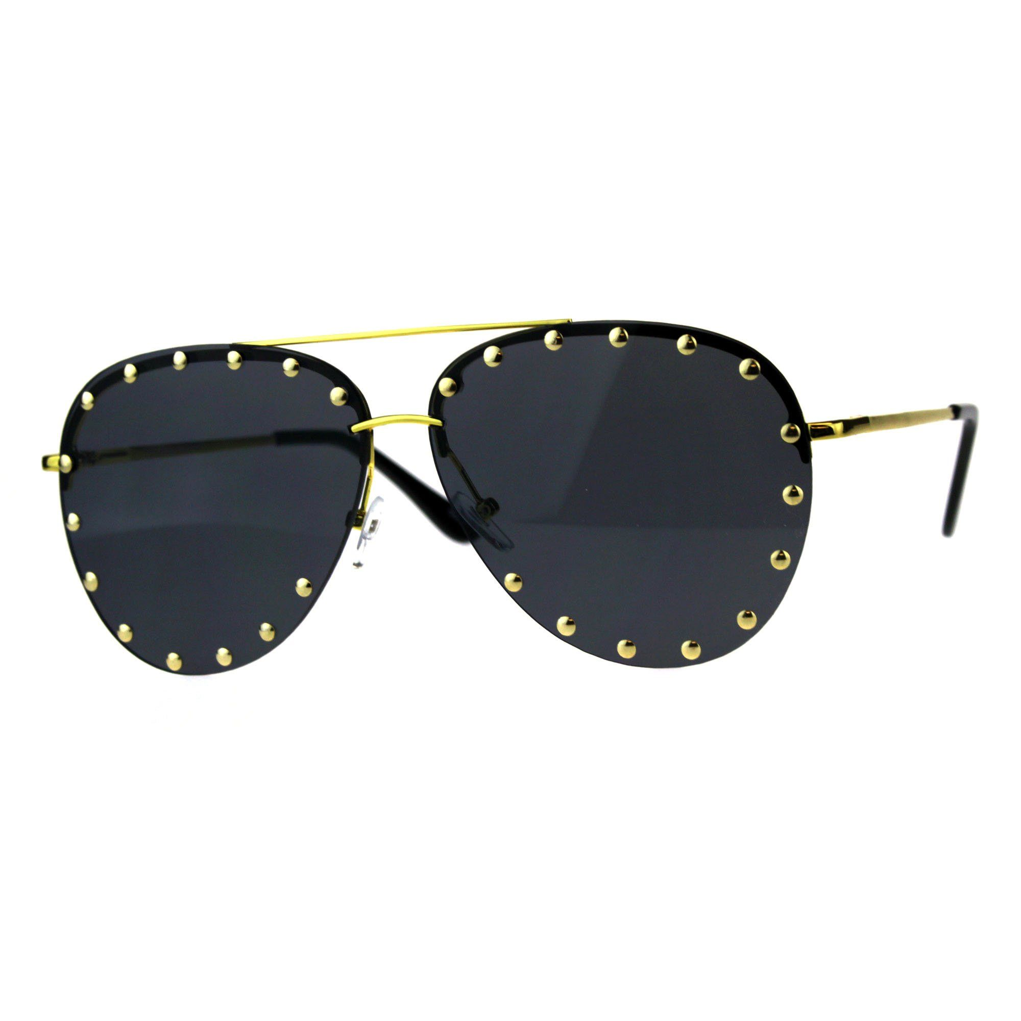 a1ae142f124 Gold Studs Aviator Sunglasses