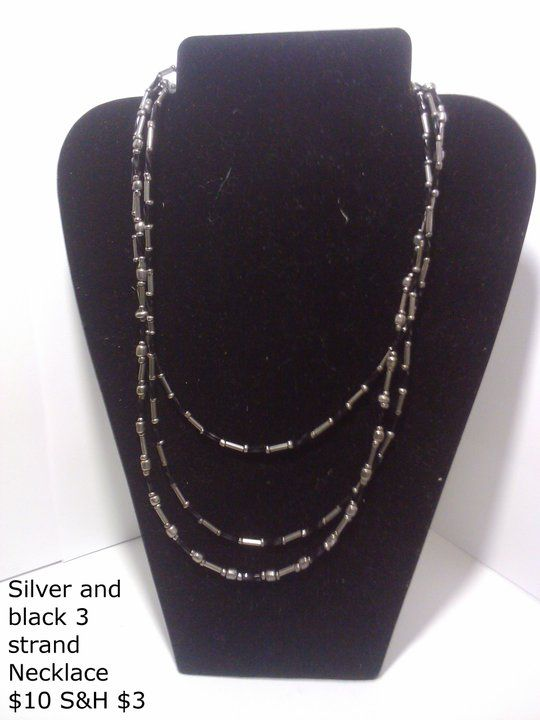 Silver and Black Three Strand Necklace