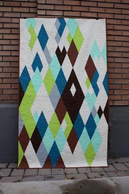 Modern diamond quilt   Flickr - Photo Sharing! Green aqua teal turquoise